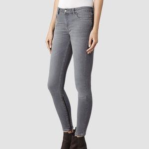 All Saints Rail Low Rise Skinny jeans, gray sz 29